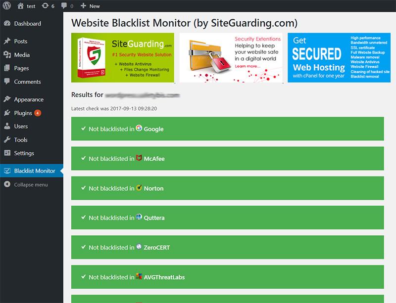 Wordpress Website Blacklist Monitor | SiteGuarding Professional